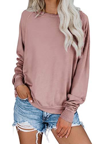 Dokotoo Womens Autumn Ladies Loose Fit Crewneck Ribbed Raglan Long Sleeve Casual Solid Tops Blouses Fashion T-Shirts Thin Pullovers Sweatshirt Pink Large (Crewneck Sweatshirts Women For)
