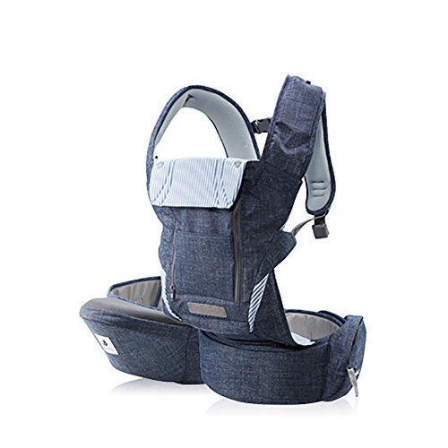 Pognae No 5 Plus Luxury All-in-One Baby Carrier Organic Infant Baby Hipseat Front Backpack Carrier Blue Denim