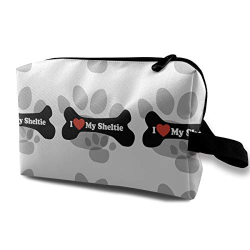 (FSXDOG I Love My Sheltie Dog Paw Print Novelty Versatile Students Pencil Case Pen Pouch Cosmetic Bag Single Layer Travel Storage Makeup Bags Purse)