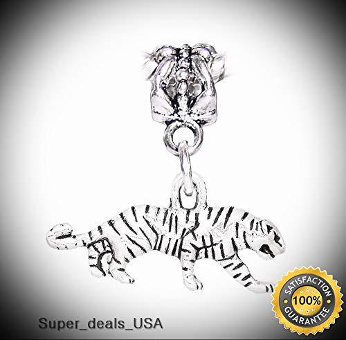 3d Halloween Rainbow Loom (Tiger Wild Animal Zoo Safari Park Dangle Charm for Silver European Bead Bracelet DIY Handmade Ornament)