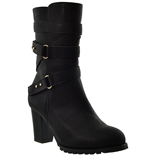 Womens Mid Calf Boots Strappy Buckle Accent Stacked Chunky Heel Shoes KSC-WB-M30