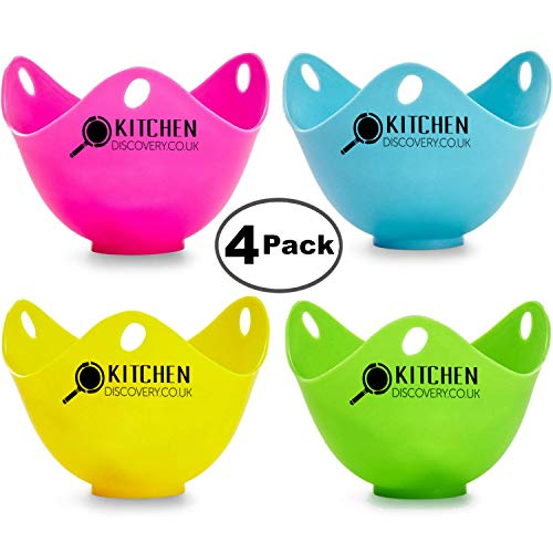 Egg Poacher Cups For Cooking Perfect Poached Eggs (4 Pack) By KITCHEN DISCOVERY - PREMIUM Grade LFGB Silicone Egg Poacher, BPA-Free 4 Multi Coloured Poached Egg Pods, Egg Poacher Pan, Egg Cooker, Poached Egg Maker Set, Microwave Egg Poacher