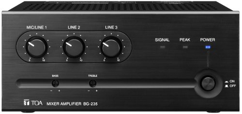 TOA BG-235 Mixer Amplifier 35W 3 Input 1 MicLine Switchable Two Zone System Capability