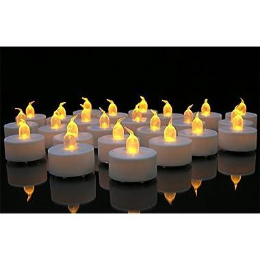 Battery-powered Flameless LED Tealight Candles (2-Dozen Pack)