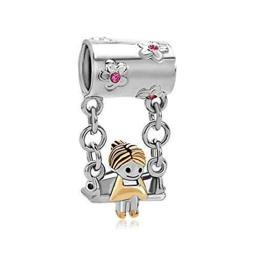 LovelyCharms 925 Sterling Silver Sister Girls Pink Birthstone Beads Fit Bracelets