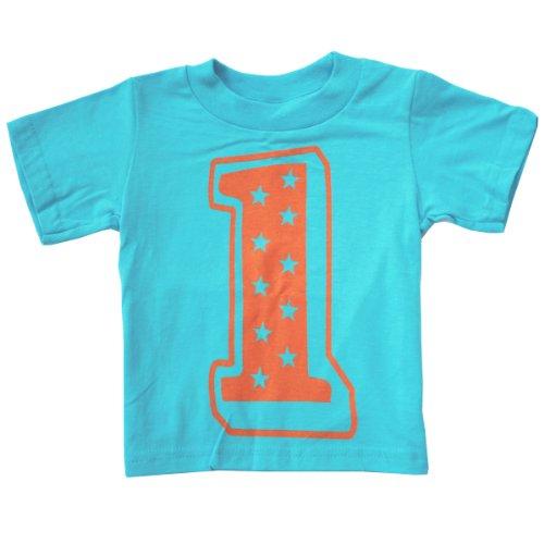 Happy Family 1st Superstar First Birthday Kids T Shirt (18 Months, Aqua Blue)