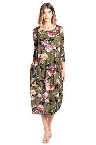 12 Ami Solid 3/4 Sleeve Bubble Hem Pocket Midi Dress Olive Floral S