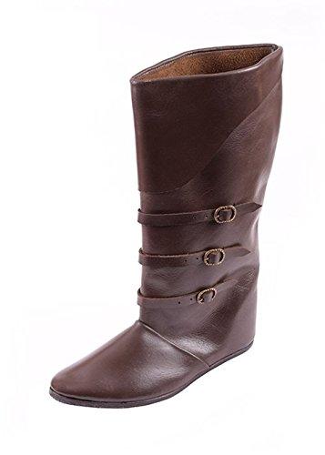 Mittelalterliche Schnallenstiefel, dunkelbraun aus Leder - Mittelalter Stiefel - LARP Schuhgröße 43