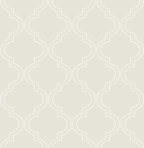 Wall Pops NU1425 Taupe Quatrefoil Peel and Stick Wallpaper