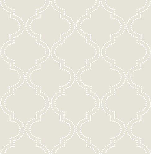 Wall Pops NU1425 Taupe Quatrefoil Peel and Stick Wallpaper ()