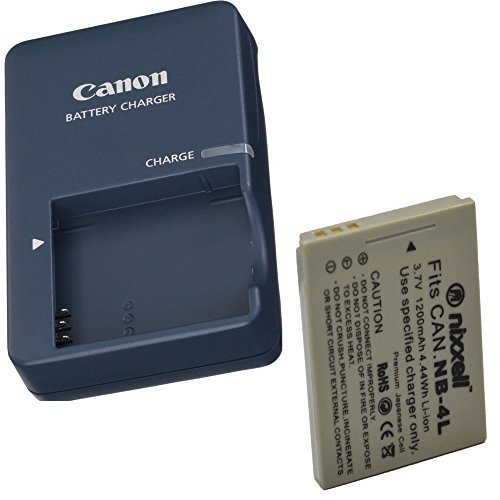 Canon CB-2LV Charger for Canon NB-4L Li-ion Battery Compatible with Canon PowerShot SD40 SD30 SD200 SD300 SD400 SD430 SD450 SD600 SD630 + Bonus Battery! by Canon-Nixxell