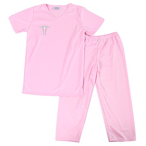 Pink Kids Medical Scrubs Costume, Size 6/8 (Nurse Costume For Kids)