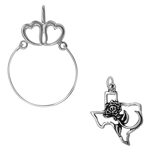(Raposa Elegance Sterling Silver The Rose of Texas Map Charm on a Hearts Charm Holder)