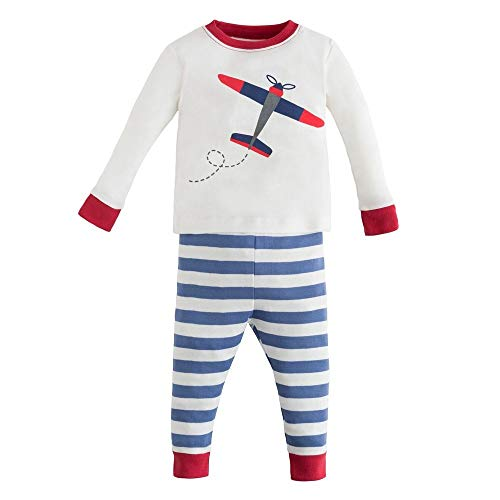 Under the Nile Organic Cotton Baby and Toddler Boy Blue and White Stripe Airplane Print Long Johns (6y)