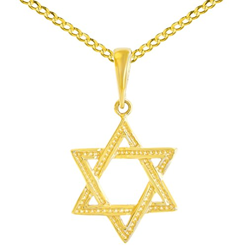 (Solid 14K Yellow Gold Textured Jewish Star of David Charm Pendant Cuban Concave Necklace, 18