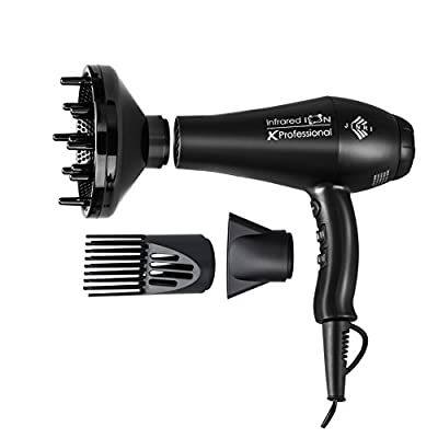 Jinri Professional Salon Collection 1875w Fast Dry Infraed Ionic Hair Dryer with Negative ions 2 Speeds 3 Heat Blow Dryer with Diffuser and Concentrator Black Color