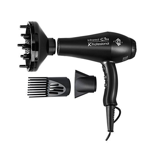 Jinri Professional Salon Collection 1875w Fast Dry Infraed Heat Negative Ionic Hair Dryer 2 Speeds 3 Heat Blow Dryer with Diffuser and Nozzle  Black Color