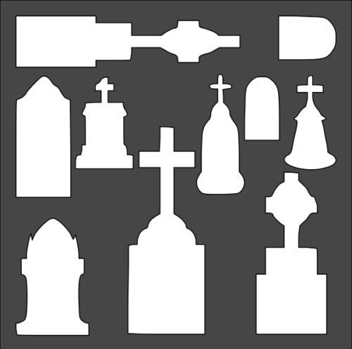 Custom Stencil Holiday Halloween Tombstones 5.5 x 5.5]()