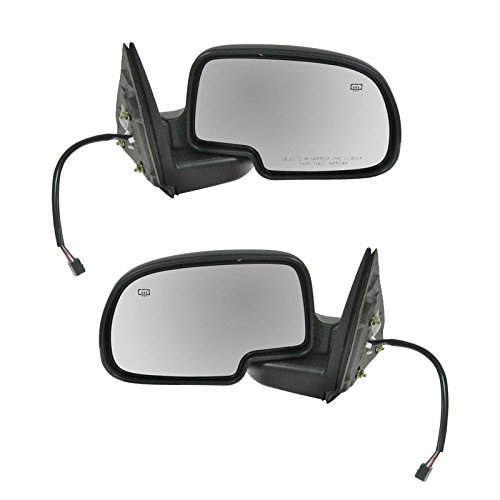 Side View Mirrors Power Heated w/Puddle Gloss Black LH/RH Pair Set for Chevy GMC