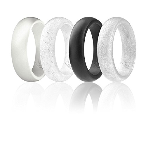 ROQ Silicone Wedding Ring for Women, Set of 4 Silicone Rubber Wedding Bands - Silver, Black, White - Size - & Black Pearl White Ring