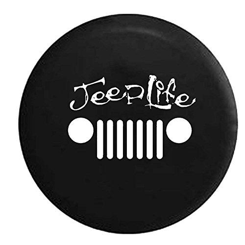 Jeep Life Grill Wrangler JK TJ CJ Spare Tire Cover OEM Vinyl Black 32-33 in (Jk Jeep Spare Tire compare prices)