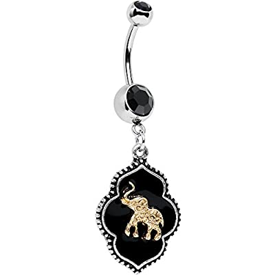 Body Candy Stainless Steel Black Accent Black Disc Back To Bali Elephant Dangle Belly Ring save more