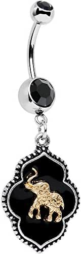 Body Candy Stainless Steel Black Accent Black Disc Back To Bali Elephant Dangle Belly Ring