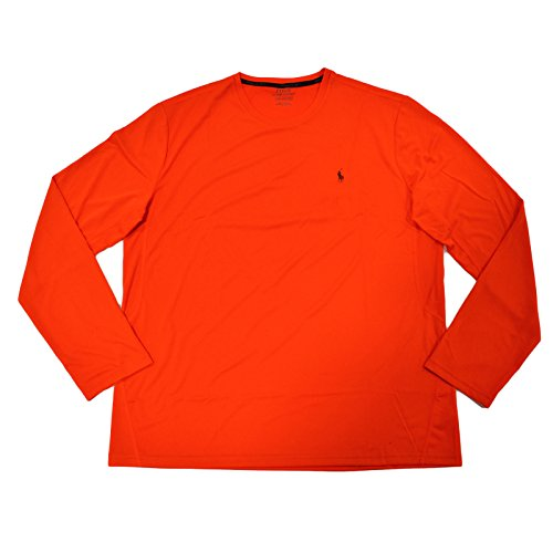 - Polo Ralph Lauren Mens Long-Sleeve Performance Jersey T-Shirt (Orange ,Large)