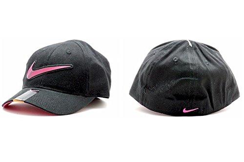 Nike Girls Embroidered Swoosh Logo Cotton Baseball Cap Sz 4/6X (Black)