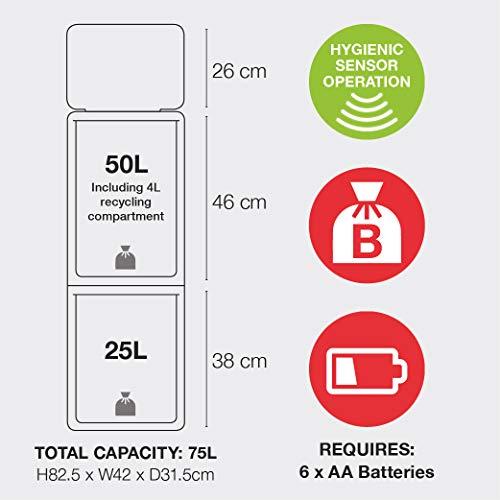 Morphy Richards - Cubo de Basura con Sensor con 2 Compartimentos, 75L, Acero Inoxidable, 31,5 x 42 x 82,5 cm: Amazon.es: Hogar
