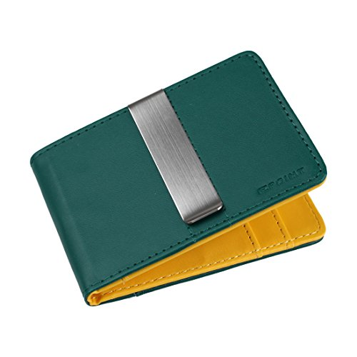 Epoint ECM08A08 Green Yellow Wholesale Leather Wallet Stainless Steel Money Clip and 4 Card Holders Christmas Presents