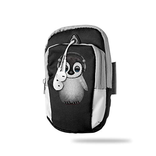 Cell Phone Armband Case Holder Cute Baby Penguin Dj Wearing Headphone Phone Holder Pouch With Adjustable VELCRO & Key Holder To Hold Money, Cards And Keys For Running & Working Out, Walking, Hiking