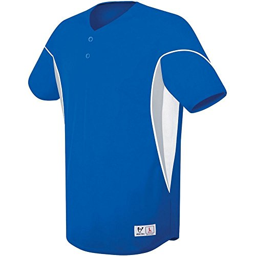 (High Five Ellipse Two-Button Jersey-Adult,Royal/White,Medium)