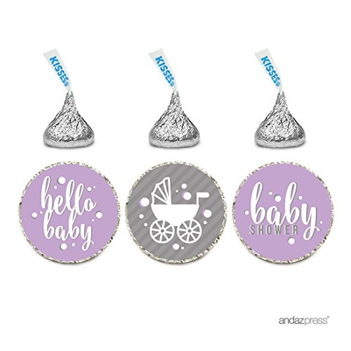 Andaz Press Chocolate Drop Labels Trio, Girl Baby Shower, Hello Baby!, Lavender, 216-Pack, Fits Hershey's Kisses Party Favors, Decor, Decorations
