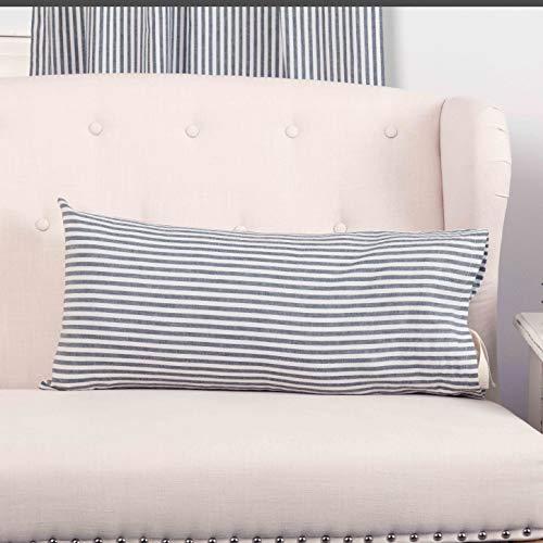 "Piper Classics Farmhouse Ticking Stripe Blue Fabric Throw Pillow Cover, 12"" x 25"", Décor Accent"