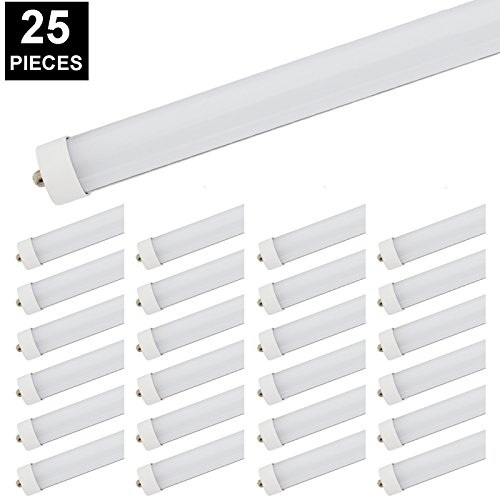 8ft LED Tube, CNSUNWAY LIGHTING 96'' 45Watt T8 FA8 Single Pin LED Bulbs With Frosted Cover, 4800LM Super Bright 6000K Cool White (25 Pack) by CNSUNWAY LIGHTING