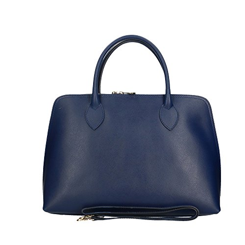 italy Borsa Scuro in Vera Aren Made Pelle in 37x27x12 Cm Donna a Handbag da Blu Mano a5xwWURPqx