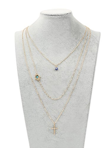 A&C Fashion Bohemia 3 Tier Blue Bead and Cross Necklace for Women. Unique Alloy Necklace for Girl. (Gold Color) free shipping