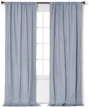 Circo Blue Stripe Print Curtain Window Panel 84 x 42 2
