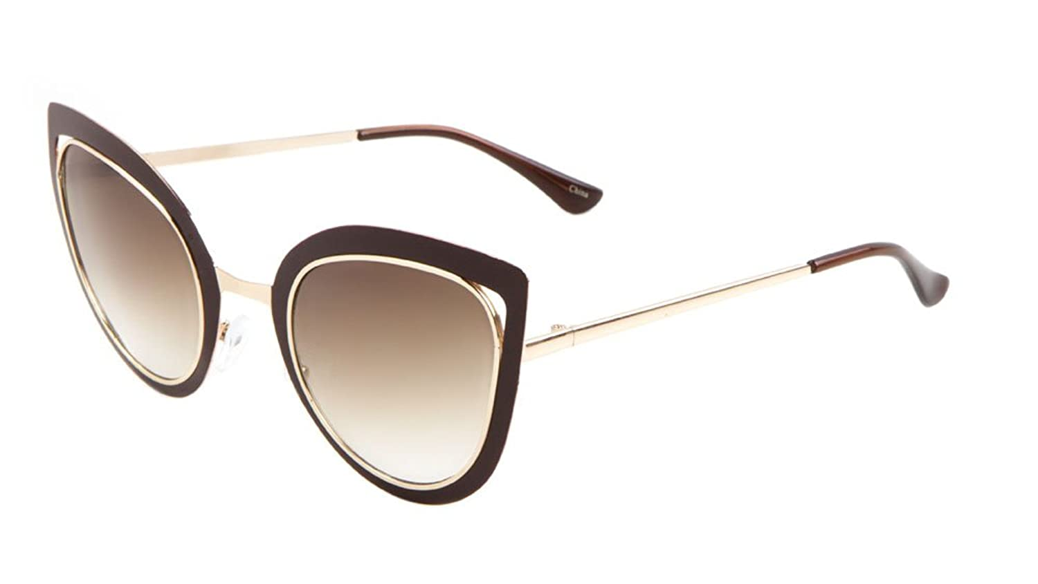 Sunglasses Luxe. Metal Cat Eye Sunglasses. (BROWN GOLD SMOKE)
