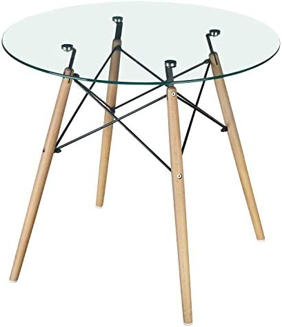 GreenForest Dining Table Modern Round Glass Clear Table for Kitchen Dining Room Coffee Table with Wood Legs