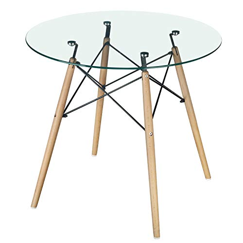 GreenForest Dining Table Modern Round Glass Clear Table for Kitchen Dining Room Coffee Table with Wood Legs (Modern Clear Glass)