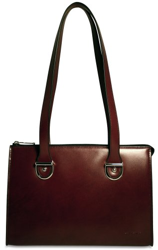 Jack Leather Georges Bag (Jack Georges Milano Collection Top Zip Shoulder Leather Handbag in Cherry 3604)
