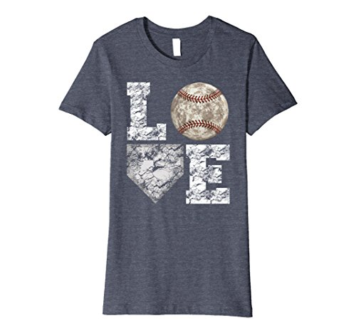 Womens Baseball Distressed Ball T-Shirt Cute Dad Mom Love Tee Large Heather Blue