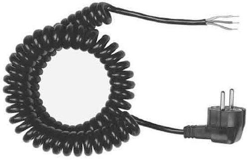 color negro Cable de conexi/ón en espiral con enchufe Schuko 3G1,50, 500 a 2000 mm Bachmann 663.170