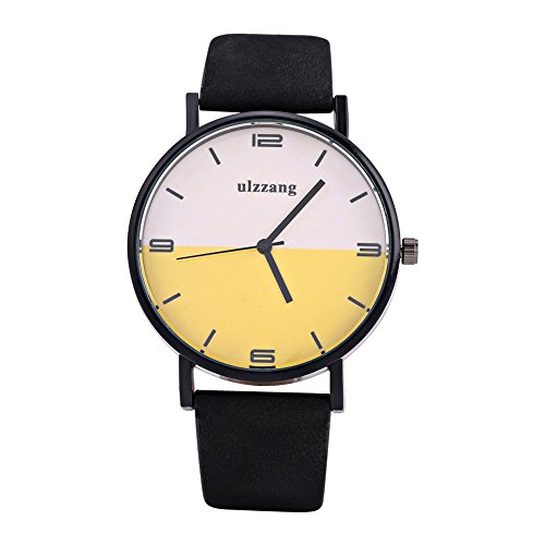 Watches for Men, Quartz Analog Round Wrist Watch PU Strap Color Contrasting Dial Wristwatch (Black belt white yellow (Round Dial Plate Belt)