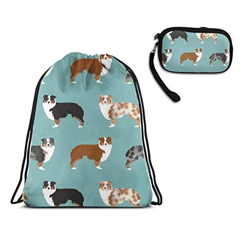 Girls & Boys Sport Travel Drawstring Backpack, Australian Shepherds Dogs Lightweight Tote Cinch Sack, Water Resistant, Home Travel Storage Use + Zipper Ladies Purse