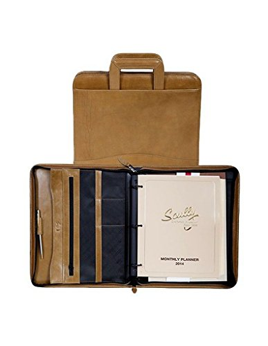 - Scully Leather 3 ring zip binder, 96Z-06, ALOE, 26