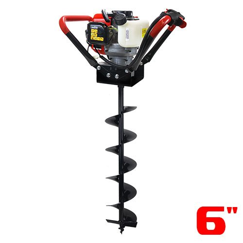 Post Hole Digger - XtremepowerUS V-Type 55CC 2 Stroke Gas Post Hole Digger One Man Auger (Digger + 6