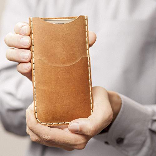 Café claro estuche billetera funda de cuero para iPhone 11 Pro Max, XS Max, 8 Plus, 7 Plus con bolsillos para tarjetas de crédito. Estuche de manga. Cosido a mano.: Amazon.es: Handmade